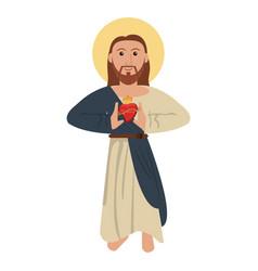 Jesus christ with sacred heart spirituality image vector