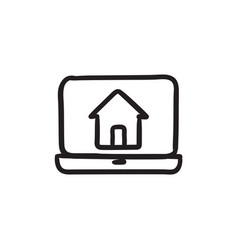 Laptop with home on the screen sketch icon vector
