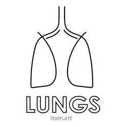 Linear stylized drawing of lungs vector