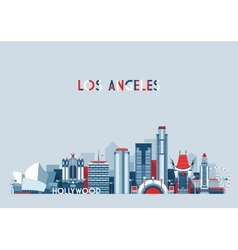 Los Angeles United States City Skyline Flat vector image