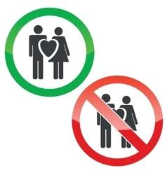 Love couple permission signs set vector