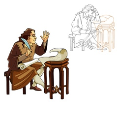 Medieval man with a pen and scrolls vector