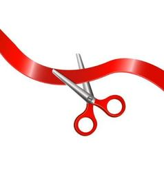 scissors and red ribbon vector image