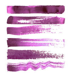 set of magenta brush strokes vector image vector image