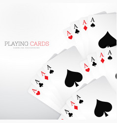 set of playing casino cards on white background vector image vector image