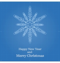 Snowflake symbol like blueprint drawing vector
