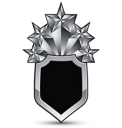 Sophisticated blazon with five silver stars vector