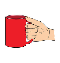 the hand holds the cup vector image