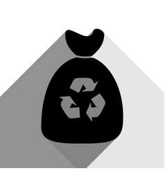 trash bag icon black icon with two flat vector image