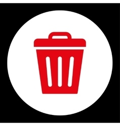 Trash Can flat red and white colors round button vector image
