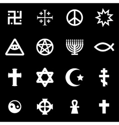 White religious symbols set vector