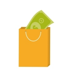 Yellow bag gift present with bill money vector