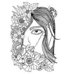 girl in the floral frame vector image