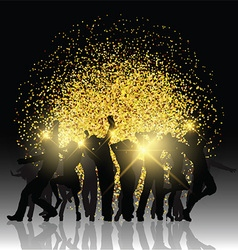 Party people on glitter background vector image