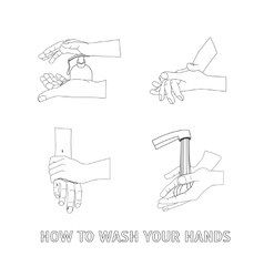 Hands washing thin line vector