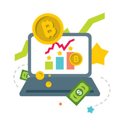 Cryptocurrency earnings on internet flat vector