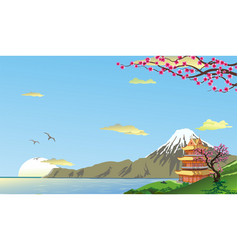 Landscape pagoda on the coast vector