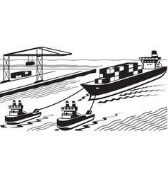 Tugboats assisting cargo ship to port vector