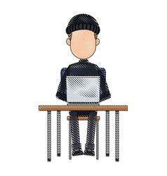 hacker in hoodie sitting with laptop vector image