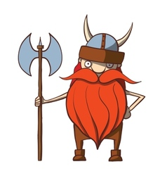 Funny cartoon viking with an ax vector