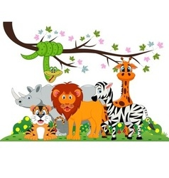 Lion tiger zebra rhino snake and giraffe were vector image