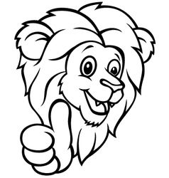 Funny cartoon lion giving thumb up vector