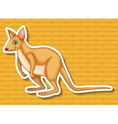 Sticker of kangaroo on yellow background vector