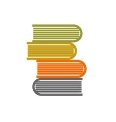 Stack of books on white background flat vector