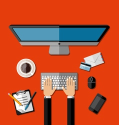 Modern business office workspace vector