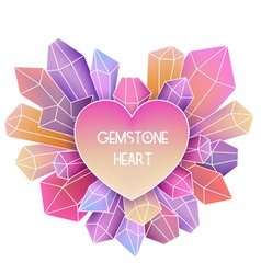 Heart frame with mineral crystal splash beside it vector
