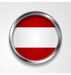 Abstract button with metallic frame Austrian flag vector image