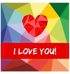 I love you valentines card with heart vector