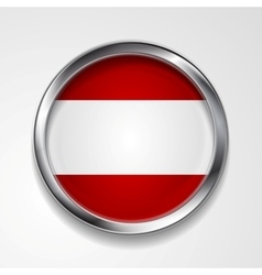 Abstract button with metallic frame austrian flag vector