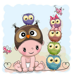 Baby boy in a owl hat and five owls vector
