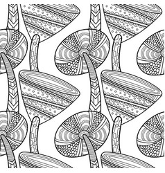 Black white seamless pattern with decorative vector