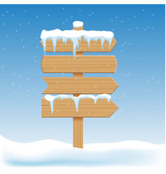 blank wooden signs with snow billboard banner vector image vector image