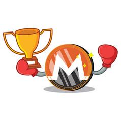 Boxing winner monero coin character cartoon vector