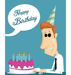 Cartoon office worker with a birthday cake vector