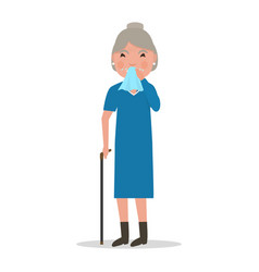 cartoon old woman caught cold sneezing ill vector image