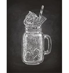 chalk sketch of milkshake vector image