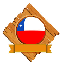 chile flag on round badge with banner vector image vector image