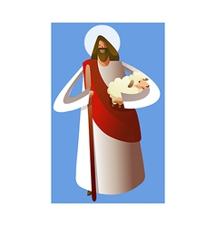 Close-up of Jesus Christ holding sheep vector image
