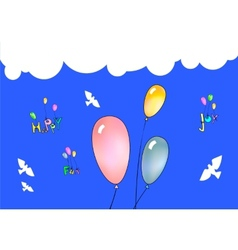 Colorful balloons in blue sky vector image vector image