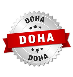 Doha round silver badge with red ribbon vector