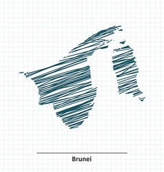 Doodle sketch of Brunei map vector image vector image