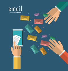 Envelope hand smartphone email message mail icon vector