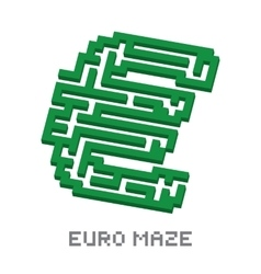 Euro business isometric green maze vector image vector image