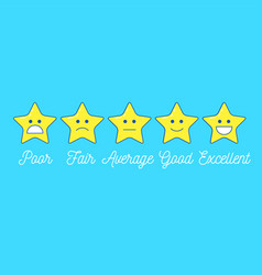 feedback emoticon star scale line design positive vector image