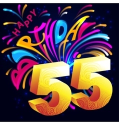 Fireworks Happy Birthday with a gold number 55 vector image