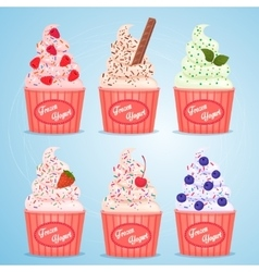 Frozen yogurt cups vector